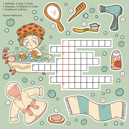word game: Vector color crossword, education game for children about bathroom and beauty items (bathrobe, soap, towel, shampoo, hairdryer, comb, toothbrush, mirror)