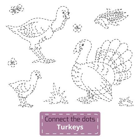 gobbler: Game for children: Connect the dots (farm animals set, turkey family) Illustration