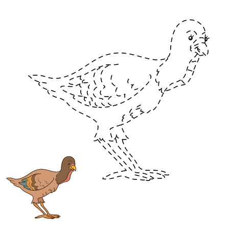gobbler: Connect the dots game for children: farm bird (turkey)
