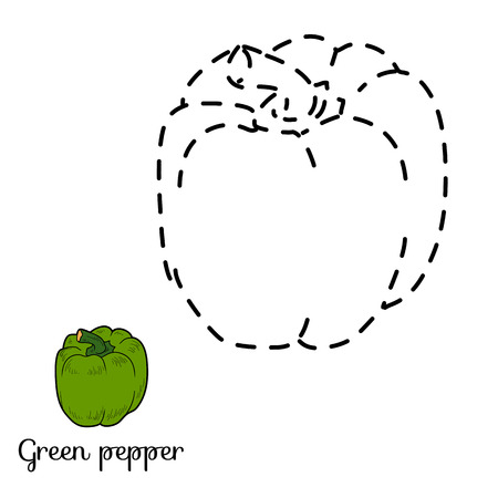 enigma: Connect the dots game for children: fruits and vegetables (green pepper)