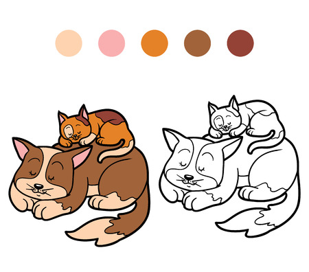 Coloring book for children (two spotted sleepy cats) Vectores
