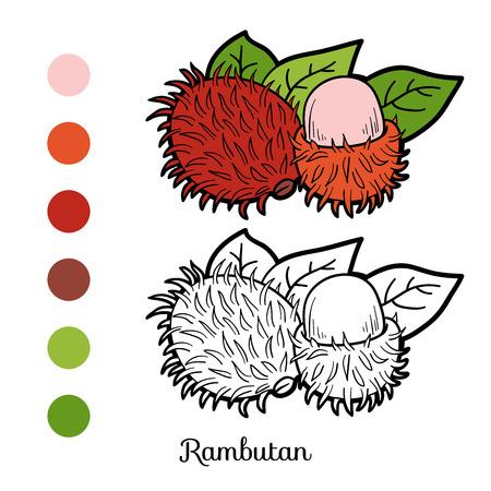 rambutan: Coloring book game for children: fruits and vegetables (rambutan)
