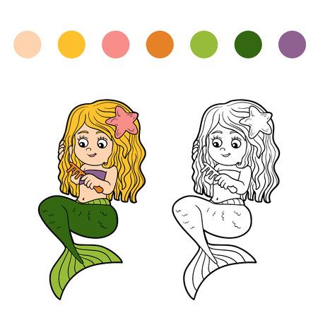 fairy tale mermaid: Coloring book for children (little cute girl mermaid)