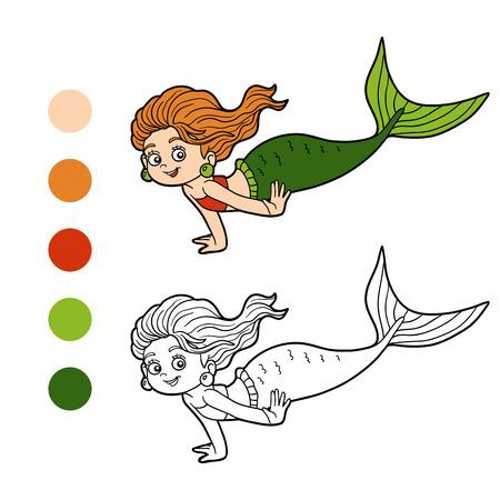 Libro Para Colorear Para Los Niños (niña Sirena Linda) Ilustraciones ...
