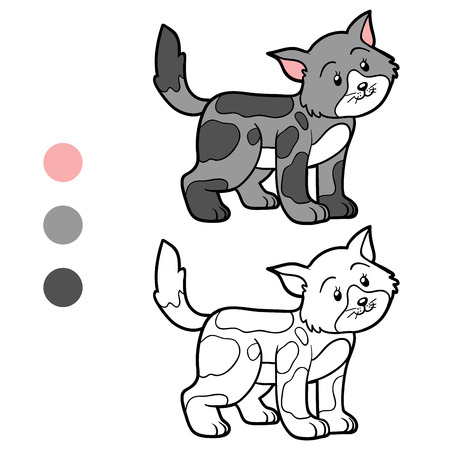 gray cat: Coloring book for children (spotted gray cat)