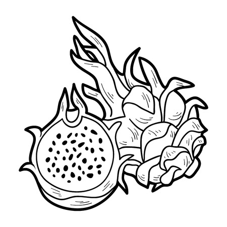 Coloring book game for children: fruits and vegetables (dragon fruit)