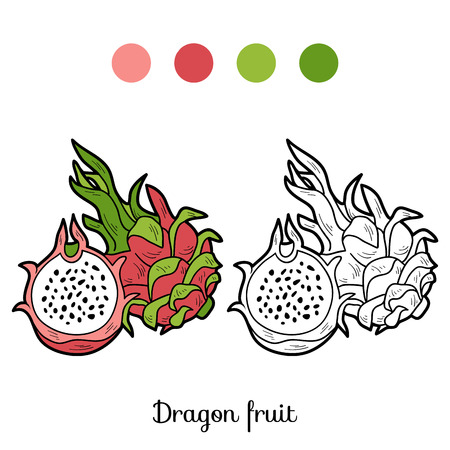children book: Coloring book game for children: fruits and vegetables (dragon fruit)