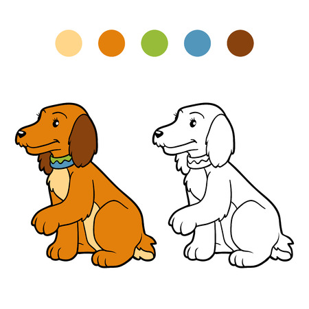 cute dog: Coloring book for children (spaniel cute dog) Illustration