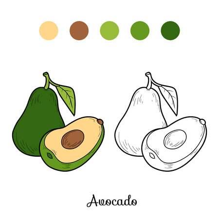 Coloring book game for children: fruits and vegetables (avocado)
