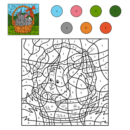 number of animals: Color by number game for children (rabbit in the basket)