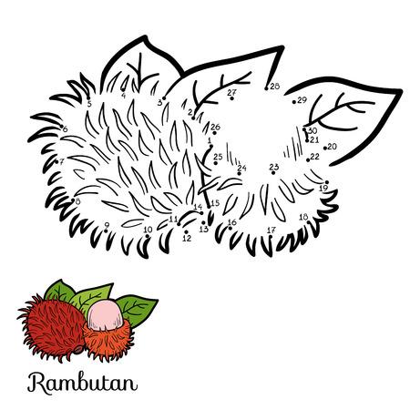 rambutan: Numbers vector game for children: fruits and vegetables (rambutan)