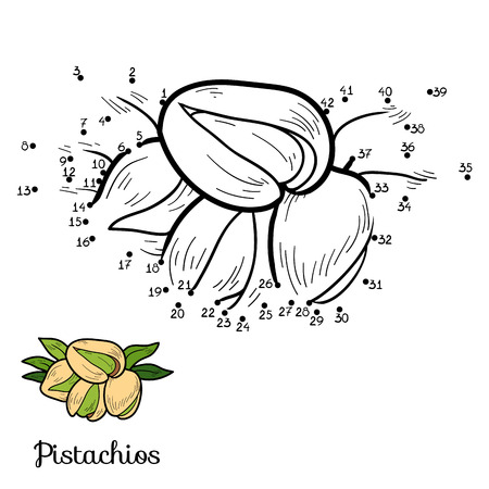 pistachios: Numbers vector game for children: fruits and vegetables (pistachios)