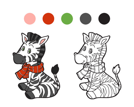 Coloring book: Christmas winter zebra. Game for children Illustration