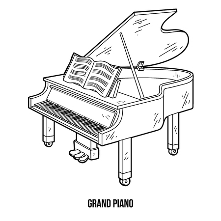 Coloring book for children: musical instruments (grand piano) Vectores