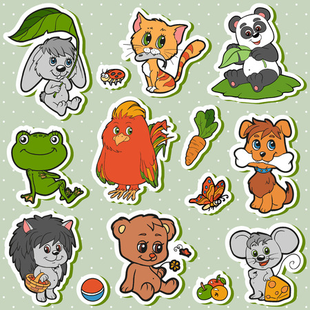 frogs: Cute animals set, vector kids stickers with baby animals (rabbit, dog, cat, panda, bear, mouse, hedgehog, bird)