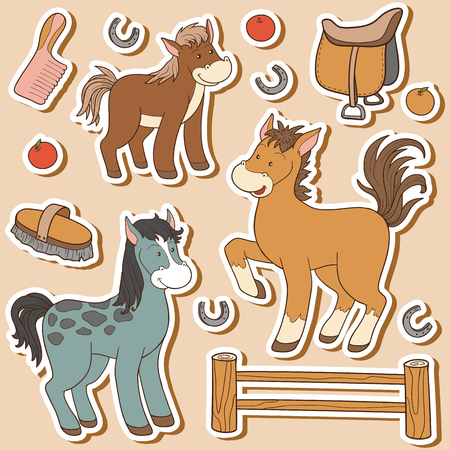 country farm: Color set of cute farm animals and objects, vector family horse and objects
