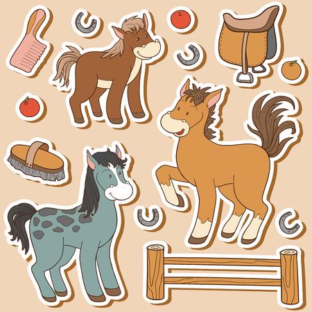 animales de granja: El conjunto de colores de los animales del campo lindos y objetos, vector de la familia del caballo y objetos