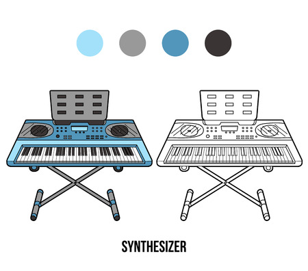synthesizer: Coloring book for children: musical instruments (synthesizer) Illustration