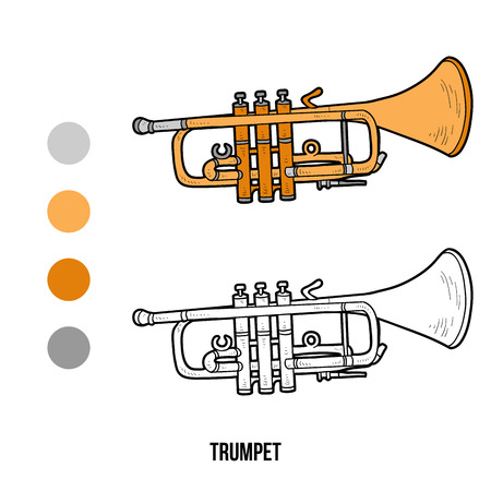 Coloring book for children: musical instruments trumpet