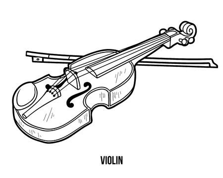 Coloring book  for children: musical instruments (violin) Illustration