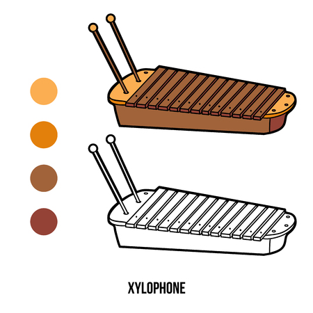 Coloring Book For Children Musical Instruments Xylophone Vector