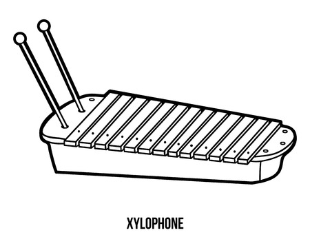 cute xylophone coloring book for children musical instruments xylophone illustration