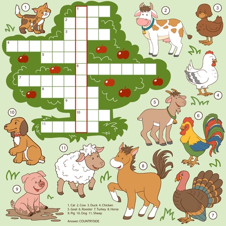 number cartoon: Vector color crossword, education game for children about farm animals
