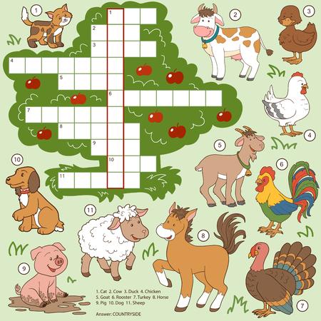 Vector kleur kruiswoordraadsel, onderwijs spel voor kinderen over boerderijdieren