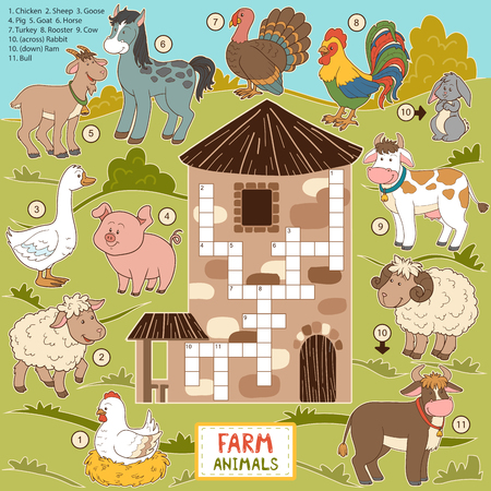 cartoon chicken: Vector crossword, education game for children about farm animals