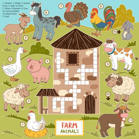 Vector kruiswoordraadsel, onderwijs spel voor kinderen over boerderijdieren Stock Illustratie