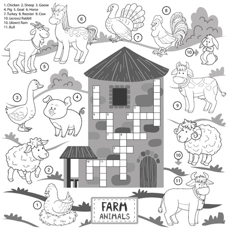 granary: Vector crossword, education game for children about farm animals