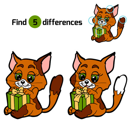 working animals: Find differences for children: Christmas animals (cat) Illustration