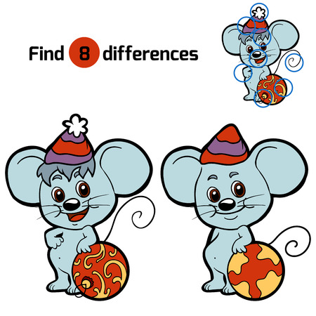 Find differences for children: Christmas animals (mouse)