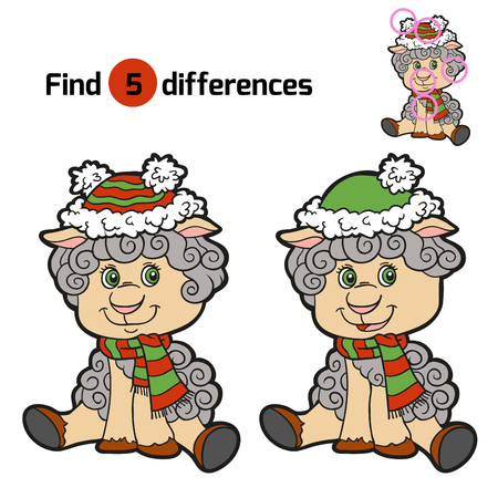 differences: Find differences: Christmas winter sheep. Game for children Illustration