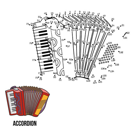 keyboard music: Numbers game for children: musical instruments (accordion)