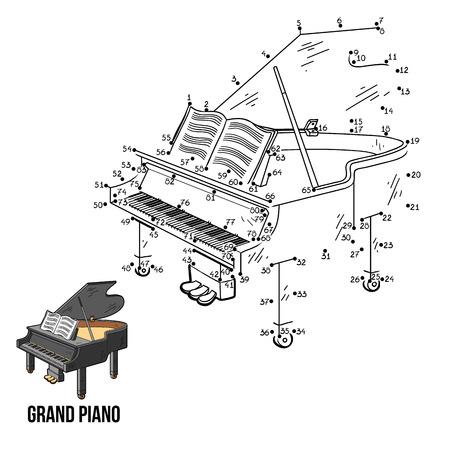 instrumentos musicales: Números de juegos para niños: Instrumentos musicales de piano de cola Vectores
