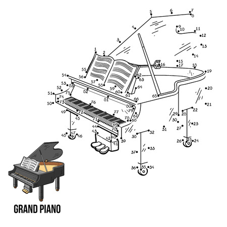 Numbers game for children: musical instruments grand piano
