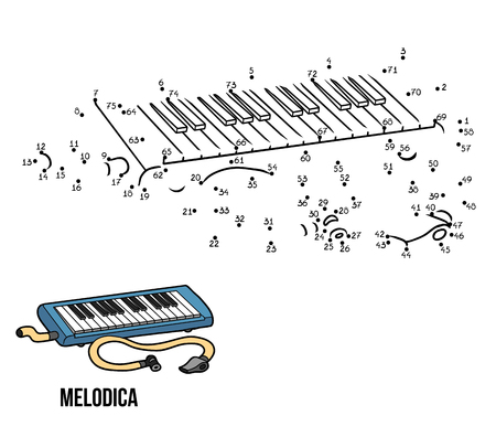 Numbers game for children: musical instruments melodica Stock Illustratie