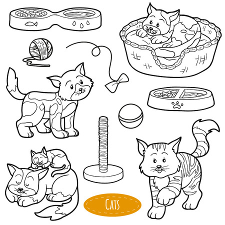 tiger page: Colorless set of cute domestic animals and objects, vector family cats and objects Illustration