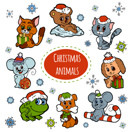 Vector set of Christmas cute animals, color cartoon collection, colorful stickers with little animals Illustration