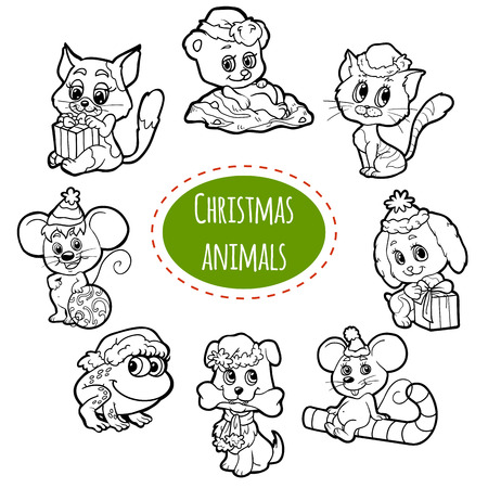 Vector colorless set of Christmas cute animals, cartoon collection, coloring page with little animals Illustration
