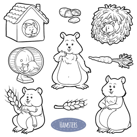 hamsters: Colorless set of cute domestic animals and objects, vector stickers with family of hamsters and objects