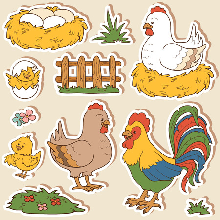 hen  farm: Color set of cute farm animals and objects, vector family chicken and objects
