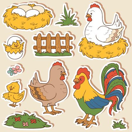 granja caricatura: El conjunto de colores de los animales del campo lindos y objetos, vector de la familia de pollo y objetos