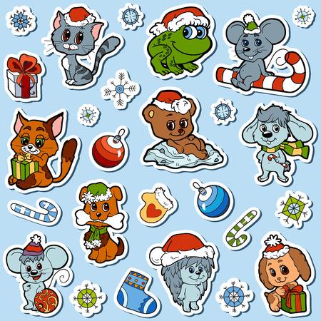 animaux zoo: Vector ensemble de Noël animaux mignons, collection de bande dessinée couleur, autocollants colorés avec des petits animaux et des objets d'hiver Illustration