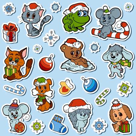 animals and pets: Vector set of Christmas cute animals, color cartoon collection, colorful stickers with little animals and winter objects