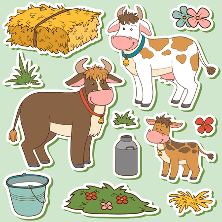 Color set of cute farm animals and objects, vector family cow and objects Illustration