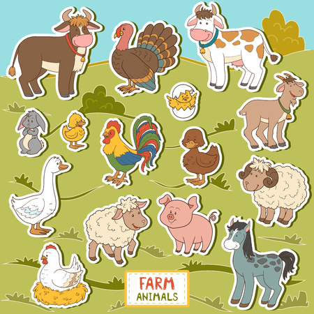 domestic animals: Colorful set of cute farm animals and objects, vector stickers with domestic animals