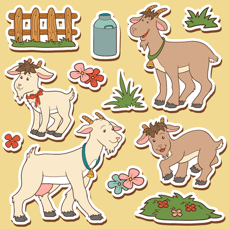 country farm: Color set of cute farm animals and objects, vector family goat and objects