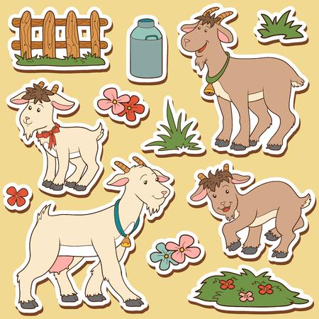 cabras: El conjunto de colores de los animales del campo lindos y objetos, vector de la familia de cabra y objetos